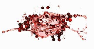Cranberries with a juice splash