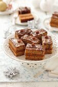 Hazelnut cake with toffee and chocolate for Christmas