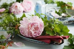 Pink peonies, currants and rhubarb