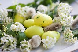 Catkins, sugar eggs and spiraea