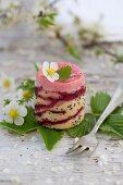 A strawberry petit four