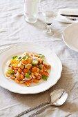 Panzanella with yellow baby tomatoes