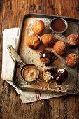 Bombolini (Italian doughnuts with cinnamon sugar and chocolate sauce)