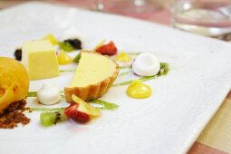 A passion fruit-themed dessert platter