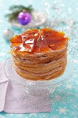 Hungarian Christmas cake with caramel wedges