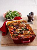 Oven-baked chicken paella
