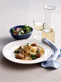 Spaghetti with pork sausages, fennel and parmesan