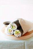 Maki rolls filled with tuna and avocado