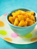 Pineapple pieces with maple syrup