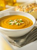 Pumpkin soup with roasted almonds
