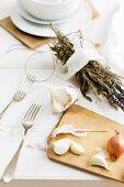 Garlic, shallots and dried herbs