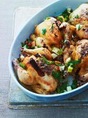 Roast spring chicken with apples