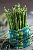 Green Thai asparagus wrapped in a napkin