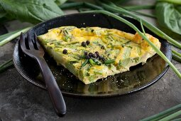 Omelette with green Thai asparagus and chives