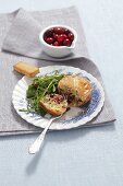 Cheese omelette with a rocket salad and cranberries