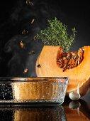 Pumpkin dessert with caramelised pumpkin seeds