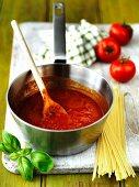 Tomato sauce in a saucepan