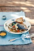 Vegetable soup with bass and rouille