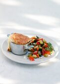 Goat's cheese souffle with vegetable salad