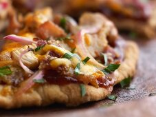 Homemade Barbecue Chicken Pizza; Close Up