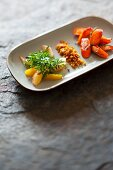 Roasted carrots with citrus fruit salad
