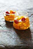 Fruit salad with pineapple and raspberries
