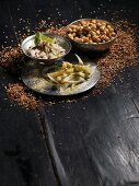 Gilthead tartar, chick peas with caraway, fennel salad (India)