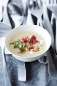 Potato soup with chanterelle mushrooms and bacon