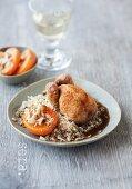 Roast quail on bulgur with baked apricots