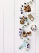 Honey roast walnuts, biscuits, a muffin and truffles