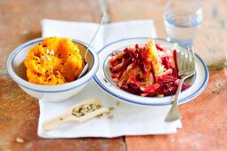 Mashed sweet potatoes with sauerkraut and beetroot