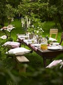 A table laid with punch under trees