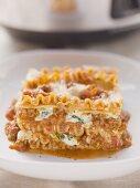 A portion of lasagne