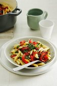 Penne pasta with peppers, tomatoes and salsa verde