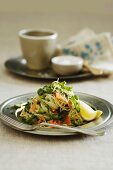 Angels hair pasta with smoked salmon, asparagus and rocket