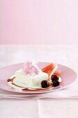 Yogurt semifreddo with watermelon and cherries