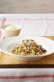 Tagliatelle with bacon and mushroom sauce