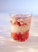 Layered strawberry dessert with redcurrant foam