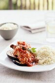 Chicken saltimbocca with grilled aubergines and rice