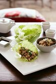 San choy bao (chicken wrapped in lettuce leaves, China)