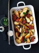 Roast potatoes with chorizo and olives