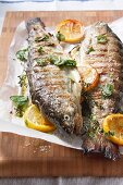 Two grilled trout with lemon and herbs