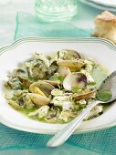 Clams with salsa verde
