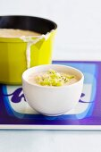 Rice pudding with roasted coconut, kiwi and passion fruit