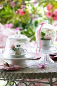 Roses in teacups under bell jars on garden table