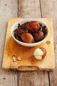 Boiled eggs marinated in tea (China)