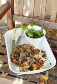 Spicy tarte tatin with mushrooms and chorizo