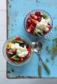 Summer berries with yogurt ice cream