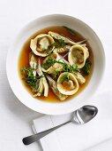 Brodo ai tortelli (chicken broth with tortellini and artichokes)