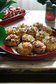 Baked sweet potatoes with breadcrumbs and bacon